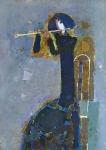 Девушка с флейтой.   ватман, масло 42х30  - 2010 г.