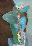 Женщина за столом  ватман, масло. 42 х 30  - 2007 г.