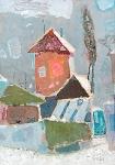 Зимний пейзаж  ватман, масло. 34 х 24  - 2008 г.