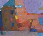 Пейзаж с домом и Быком  х.м. 50 х 60  - 2010 г.    (Продано).