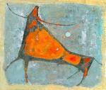 Умирающий Бык  ватман, масло. 44 х 45,5  - 2008 г.