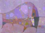 Бык под розовым дождём.  х.м. 50 х 70  - 2009 г.   (Продано).