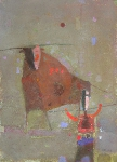 Пастух и бык  ватман, масло. 42 х 30  - 2009 г.  (Частная коллекция)
