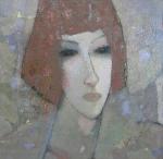 Женщина на сером.  картон, масло. 55 х 49  - 2001 г.