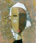 Девочка в косынке  ватман, масло. 17 х 14  - 2008 г.      (Продано).