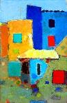 Старые дома  ватман, масло. 36 х 23,5  - 2008 г.   (Продано).