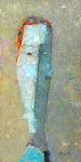 Автопортрет с оранжевыми волосами  ватм. масло. 28,5 х 14  - 2008 г.