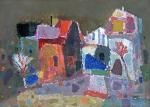 Пейзаж с красным домом.  ватмаан, масло. 30 х 42  - 2009 г.   (Продано).