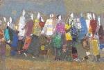 Прохожие  ватман, масло. 20 х 30  - 2008 г.   (Продано).