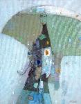 Зонтик. Женщина и дождь  х.м. 50 х 40  - 2009 г.