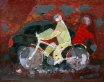Человек на велосипеде  х.м. 30 х 39,5  - 2004 г.