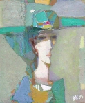 Женщина в шляпе х.м. 63,5 х 52  1995 г.