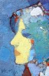 Вера. (портрет на голубом)  х.м. 21,5 х 14,3 - 2001 г.