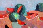 Арбузы на красном  х.м. 85 х 125  - 2006 г.
