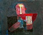 Человек с арбузом  ватман, масло. 29 х 36  - 2006 г.