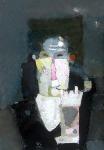 Курильщик трубки ватман, масло. 42 х 30  - 2006 г.