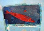 Красная селёдка  ватман, масло. 30 х 42  - 2007 г.