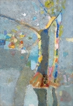 Деревья в воде  ватман, масло. 42 х 30  - 2007 г.